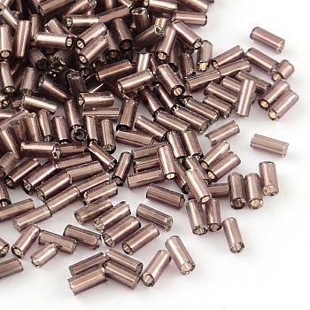 Perlas de corneta de vidrio, plata forrada, marrón rosado, 4~4.5x2mm, agujero: 1 mm, aproximamente 1556 unidades / 50 g