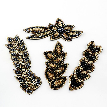 Sew-on or Iron-on Patches, Handmade Glass beaded Garment Accessories Appliques, Mixed Style, Mixed Color, 56~147x37~110x4~5mm