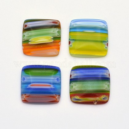 Cabochons de cristal millefiori hecho a manoLK-F003-04-1