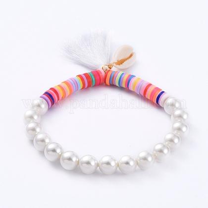 Borlas encanto pulseras elásticasBJEW-JB05080-01-1