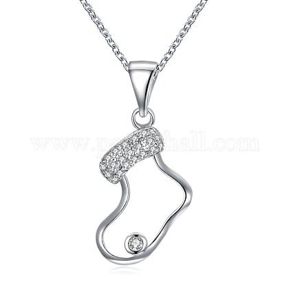 Brass Micro Pave Cubic Zirconia Pendant NecklacesNJEW-BB29790-1