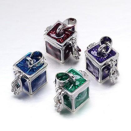 Cubo con patrón de flores en rack chapado colgantes caja de latón de oración esmalteKK-L101-04-1