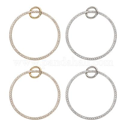 PH PandaHall 2 Pcs Round Alloy Rhinestone Bag Handle, 3.6 Inch Purse Handle Replacement Ring Clutch Evening Bag, Platinum & Silver FIND-PH0015-77