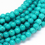 Natural Sinkiang Turquoise Round Bead Strands, Dyed & Heated, MediumTurquoise, 8mm, Hole: 1mm; about 48pcs/strand, 15.55