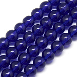 Glass Beads Strands, Round, Dark Blue, 8mm, Hole: 1mm; about 40pcs/strand, 11inches~12inches