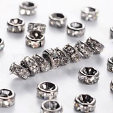 Brass Rhinestone Spacer Beads, Grade AAA, Straight Flange, Gunmetal, Rondelle, Crystal, 4x2mm, Hole: 1mm