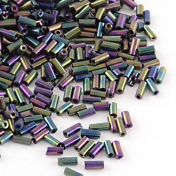 Canutillos de vidrio plateado, iris, púrpura chapado, 6x2mm, agujero: 1 mm; aproximamente 450 g / bolsa, aproximamente 10000 unidades / bolsa