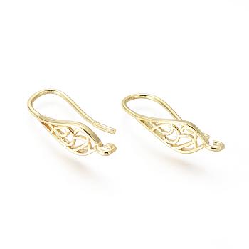Pendientes de latón, cable de oreja, con bucle, lagrima, dorado, 25x6mm, agujero: 2 mm, pin: 1 mm