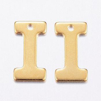 Encantos de 304 acero inoxidable, carta, encantos iniciales, letter.i, 11x6~12x0.8mm, agujero: 1 mm