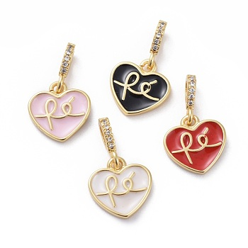 Cubic Zirconia Charms, with Brass Findings and Enamel, Heart, Golden, Mixed Color, 12x11.5x2mm, Hole: 2x3.5mm