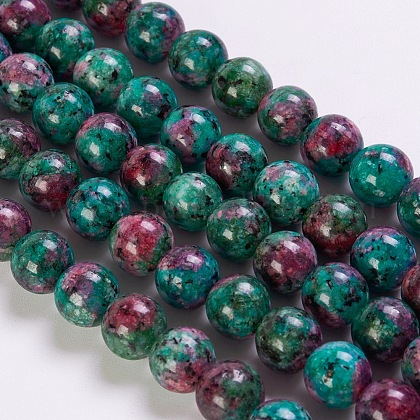 Synthetic Ruby in Zoisite Beads Strands G-K254-05-6mm-1