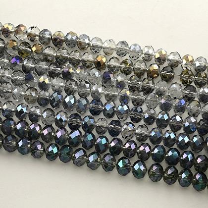 Perlas de vidrio rondelle facetado electrochapadoEGLA-S096-10mm-M-1