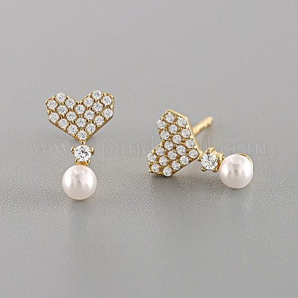 925 Sterling Silver Stud Earrings EJEW-AA00099-01G-1
