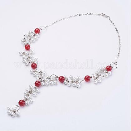 Cornalina natural perlas neacklacesNJEW-JN01888-03-1