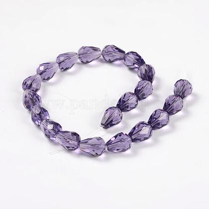 Faceted Drop Imitation Austrian Crystal Glass Bead StrandsG-PH0010-26-10x8mm-1