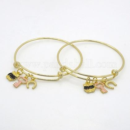 Adjustable Golden Tone Brass Bangles Expandable BanglesBJEW-J097-03G-1