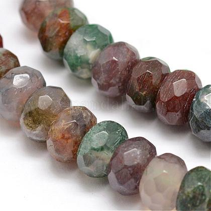 Facettes agate indienne naturelle rondelle perles brinsG-K090-11-1