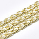Aluminium Curb Chains, with ABS Plastic Imitation Pearl, with Spool, Unwelded, Light Gold, 12x6x2mm; Bead: 4mm; about 5m/roll