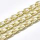 Cadenas del encintado de aluminio, con abs de plástico imitación perla, con carrete, sin soldar, la luz de oro, 12x6x2mm; cuenta: 4mm; unos 5 m / rollo