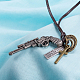 Adjustable Men's Zinc Alloy Pendant and Leather Cord Lariat Necklaces NJEW-BB16008-A-4