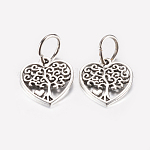 Tibetan Style Alloy Pendants, Hollow Heart with Tree, Antique Silver, 18.5x17x1.5mm, Hole: 7.5mm