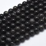 Cuentas de obsidiana de hielo natural, redondo, 8mm, agujero: 1 mm, aproximamente 48 pcs / cadena, 39cm (15.5