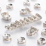 アイアン製ラインストーンスペーサービーズ, グレードB, ロンデル, ストレートエッジ, 透明, 銀色のメッキ, 6x3mm, 穴:1.5mm