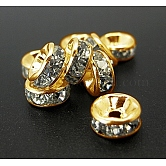 Iron Rhinestone Spacer Beads, Grade A, Straight Edge, Rondelle, Golden Color, Clear, Size: about 6mm in diameter, 3mm thick, hole: 1.5mm
