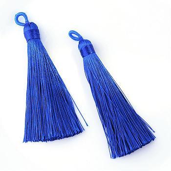 Полиэстер кисточка большие подвески украшения, синие, 80~90x8.5~9 мм, отверстие : 4x6 мм