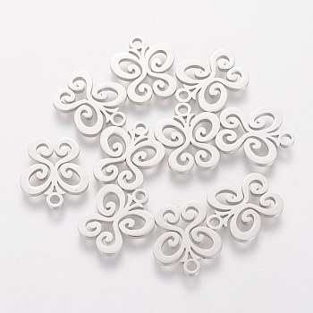 304 Stainless Steel Charms, Butterfly, Stainless Steel Color, 14x12x1mm, Hole: 1.5mm
