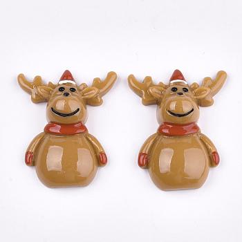 Cabuchones de resina, reno de navidad / ciervo, sandybrown, 31x25x9mm