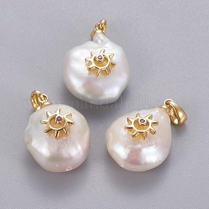 Colgantes naturales de perlas cultivadas de agua dulceKK-L187-05A-1