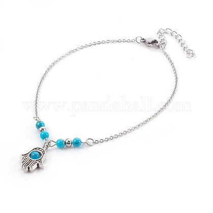Synthetic Turquoise Charms AnkletsAJEW-AN00234-06-1