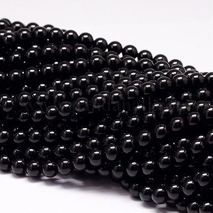 Natural Black Tourmaline Beads StrandsG-P132-16-8mm-1
