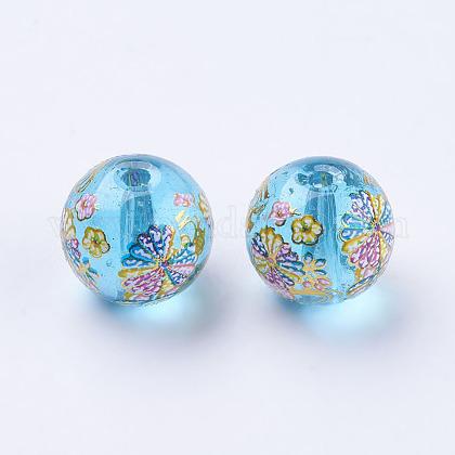 Fleur photo perles de verre impriméGLAA-E399-10mm-D02-1