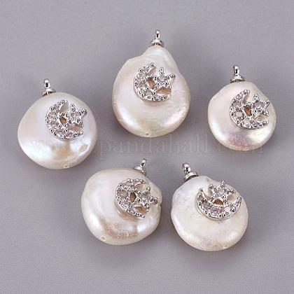 Colgantes naturales de perlas cultivadas de agua dulcePEAR-F008-57P-1