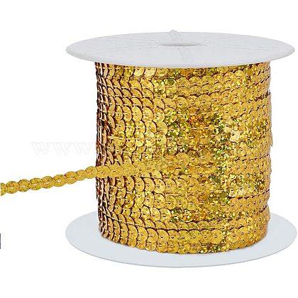 Pandahall elite около 100 ярда / рулон плоские круглые золотые пластиковые блестящие бусины цвета ab-color бусины с пайетками рулонные украшения аксессуары для украшенияPVC-PH0001-14D-1