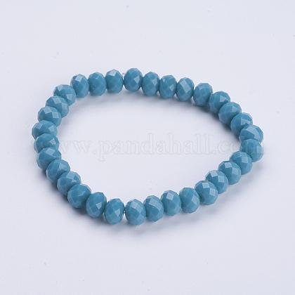 Opaque Solid Color Crystal Glass Beaded Stretch BraceletsBJEW-JB03498-02-1
