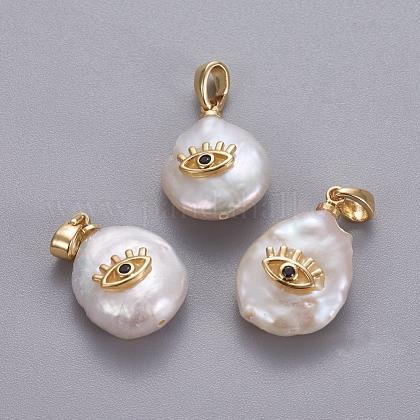 Colgantes naturales de perlas cultivadas de agua dulceKK-L187-08G-1