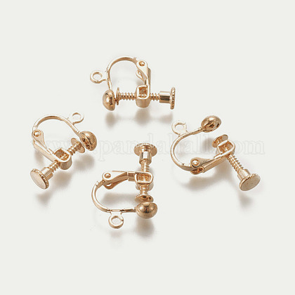 Rack Plated Brass Screw Clip-on Earring Findings KK-P169-04KCG-1
