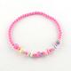 Flower Acrylic Pendant Necklaces and Stretch Bracelets Jewelry SetsSJEW-R048-04-5