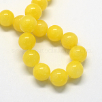 Natural Dyed Yellow Jade Gemstone Bead Strands, Round, Yellow, 10mm, Hole: 1mm; about 40pcs/strand, 15.7inches