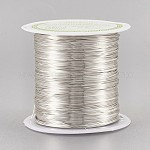 Copper Wire Copper Beading Wire, Long-Lasting Plated, Silver Color Plated, 24 Gauge, 0.5mm; 23m/roll