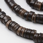 Dyed Natural Coconut Disc Bead Strands, Coffee, 9x2~6mm, Hole: 3mm; about 108pcs/strand, 15.7