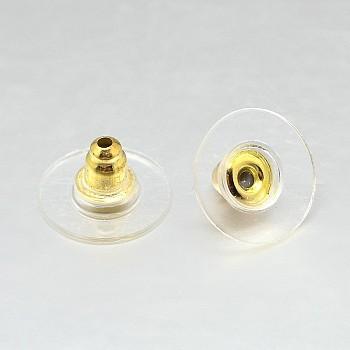 Tuercas del oído del hierro, pendiente trasero, con plástico, dorado, 11x6.5mm, agujero: 1 mm