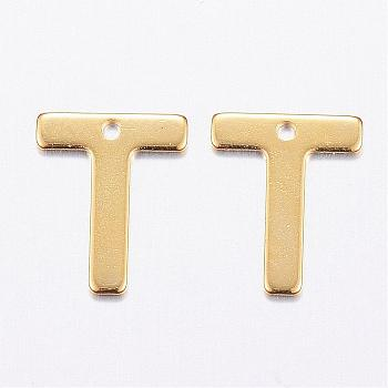 304 Stainless Steel Charms, Letter, Initial Charms, Letter.T, 11x6~12x0.8mm, Hole: 1mm