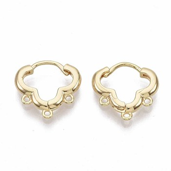 Brass Huggie Hoop Earring Findings, Nickel Free, Real 18K Gold Plated, with Loop, 14.5x15x2.5mm, Hole: 1mm, Pin: 1mm