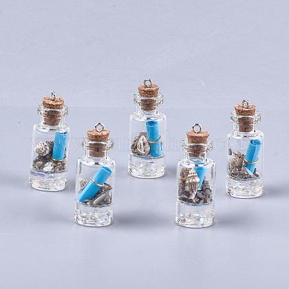 Decoraciones pendientes de cristal de la botella que deseaGLAA-S181-02G-1