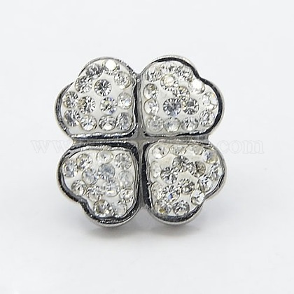 304 Stainless Steel Clover Slide Charms STAS-I022-03-1