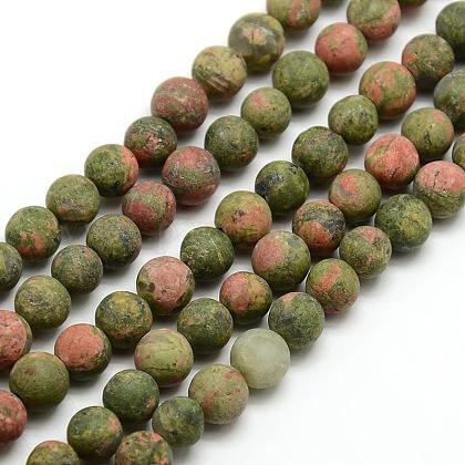 Chapelets de perles rondes en unakite mate naturelleG-M064-6mm-06-1